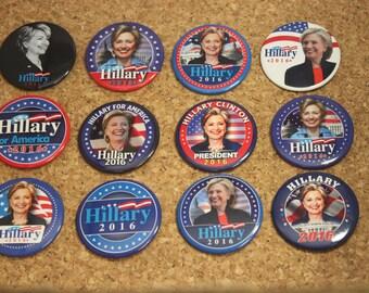 "Hillary Clinton 2016 Presidential 12 Pinback Button 2-1/4"" Set"