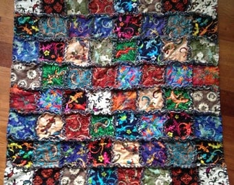 Lizard Leftovers Rag Quilt