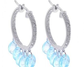 4.00 Blue Topaz Diamond Classic Hoop Earrings 14K White Gold