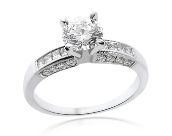 1.45 Carat H-SI1 Natural Round Cut Diamond Engagement Ring 14K White Gold