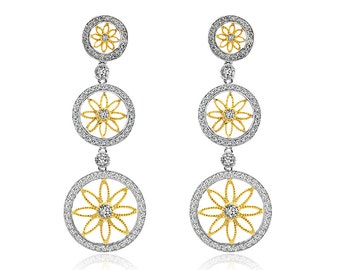 1.31 Carat Diamond Circle Drop Earrings 14K Two Tone Gold