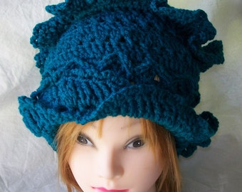 Hand Crochet Hat - color Real Teal