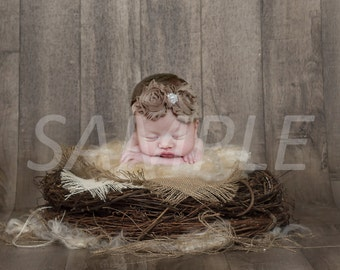 Digital Backdrop/prop - newborn nest with burlap