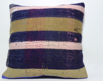 large size bedding pillow 24x24 multicolor pillow turkish kilim pillow natural pillow handwoven kilim pillow Striped kilim pillow SP6060-548