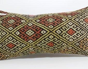 Ethnic Pillow Turkish Embroidery Kilim Pillow vintage pillow 12x24 throw pillow Floor Pillow Lumbar Pillow Boho kilim pillow SP3060-656