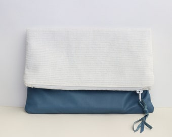Blue leather and silver striped linen foldover clutch