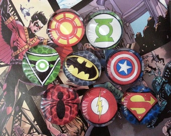 Superhero inspired logo magnets
