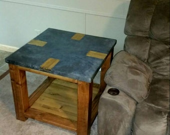 Rustic Concrete End Table