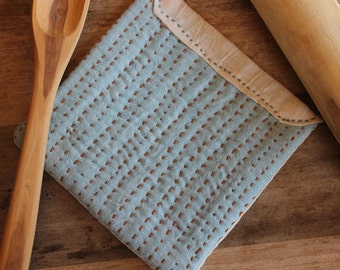 Sashiko Style Hot Pad Felted Wool Enclosed in Linen