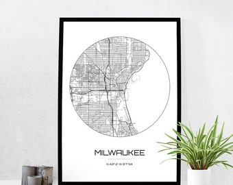 Milwaukee Map Print - City Map Art of Milwaukee Wisconsin Poster - Coordinates Wall Art Gift - Travel Map - Office Home Decor