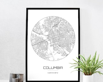 Columbia Map Print - City Map Art of Columbia South Carolina Poster - Coordinates Wall Art Gift - Travel Map - Office Home Decor