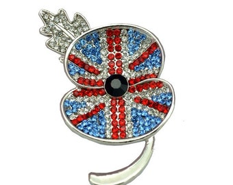 Remembrance Day 2016 Union Jack Crystal Poppy Flower Brooch
