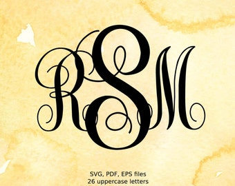 Vine Monogram SVG files, Curly Monogram Letters svg, eps, pdf, instant download font files for silhouette and other cutters, svg font