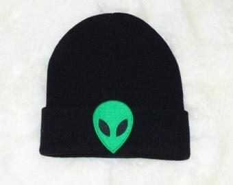 Alien Head Black Beenie Hat