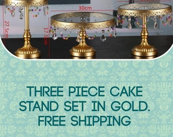 Wedding Cake stands gold 3 piece cake stands set 3 stackable pieces set free shipping