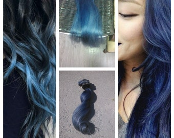 Human clip in hair extension, Midnight ombre blue