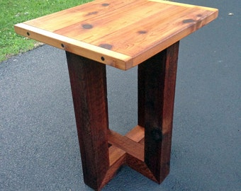 rustic wood patio table, outdoor table, rustic cedar table, outdoor patio table