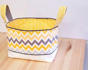 Two-handled basket fabrics / Large basket diapers / toy's basket yellow and gray chevron / Baby room's decor and organization