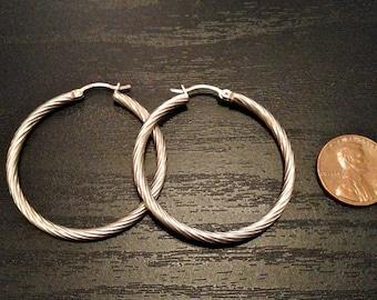 SALE 60s/70s vintage sterling silver spiral etched hoop earrings, 925 polished silver