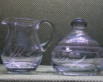Vintage- lilly of the valley- Etched Glass Sugar Bowl and Creamer Pitcher set
