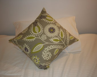 Grey Floral Cushion Cover - approx 50cm x 50cm