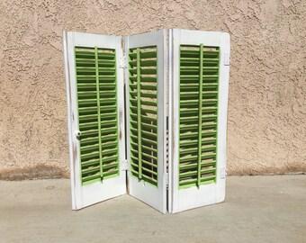 Shabby Chic Distressed Window Shutter  Rustoleum Satin Green Apple Paint / White Paint