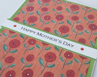 Red Flowers, Happy Mothers Day Card, Mothering Day, Mom Day, Card for Mum, Grandmother card, Cards for mothers, Mum Day, ready to ship