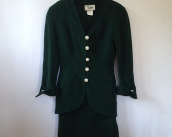 1990's emerald green evening suit by Tadashi