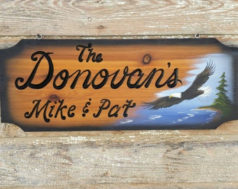 Personalized Carved Wood Eagle Sign,  House Sign, Cabin Sign,  Outdoor Signs,   10x24 inches