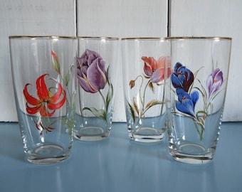 Set of Four Vintage Tumbler/ Water Glasses with Vivid Floral Designs