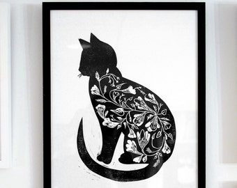 Black Cat print - linocut, print, original