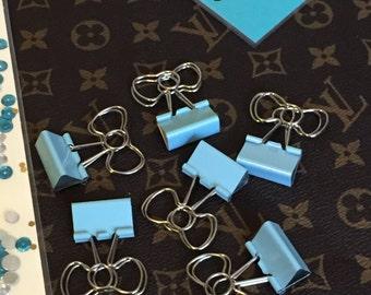 Bow Binder Clips- Light Blue