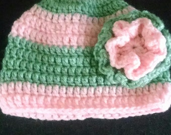 Pink & Green Beanie