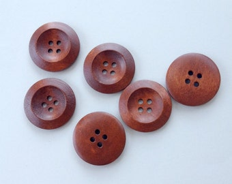 6 Coffee Wood Buttons, 30 mm (1 1\8 Inch), 4 Holes - Wooden Buttons, Set of 6 (RC3002)