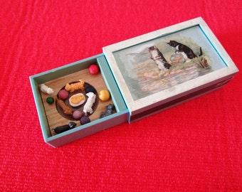 Vintage Musical Box Matchbox with Kittens Cats