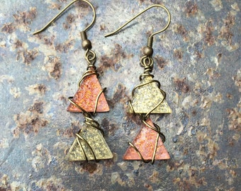 Geometric Dangle Earrings (bronze and Gold)