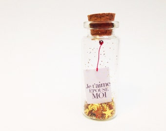 """Message in a Bottle: """"I love you wife me"""" / Declaration in a bottle / marriage / gift Valentine / romantic"""