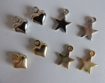 Solid Metal Heart Charms x 5