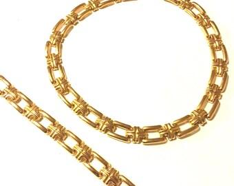 vintage gold necklace and bracelet link set