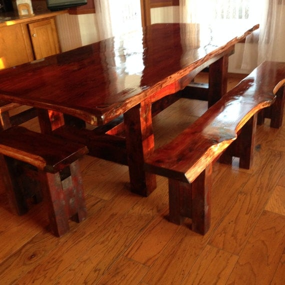 Cedar Table, Rustic Table, Farm Table, Live Edge Table, Cedar Dining Set, Trestle Style Table, Dining Table