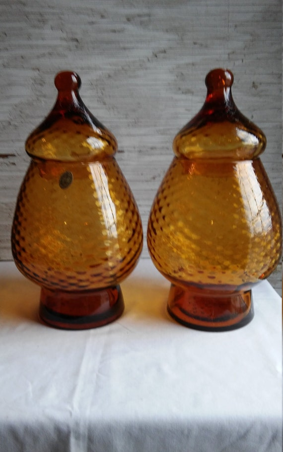 "Vintage Action-Lobeco Handcrafted in Italy Pair of Amber Pedestal Glass with Matching Lids. 12"" tall with lids in place."