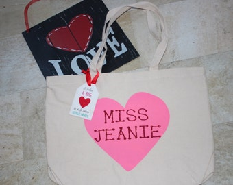 Valentine's Day totebag, perfect for teachers or anyone special in your life!
