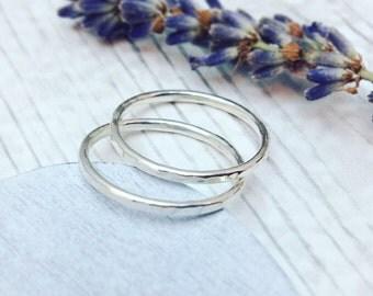 Fine Hammered Ring Set, Skinny Rings, Hammered Rings, Stacking Rings, Ring Set, Silver Ring Set, Sterling Silver Hammered Rings