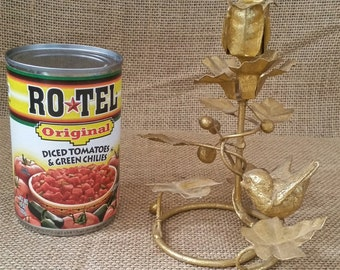 Tole Candle Holder, Bird on a Branch for Tapers, Vintage Hollywood Regency, Gold Foiled Tin, FunkyJunkFineFinds, Retro 80s