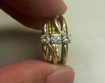 Vintage 18K Yellow Gold Diamond Ring, Size 5.5