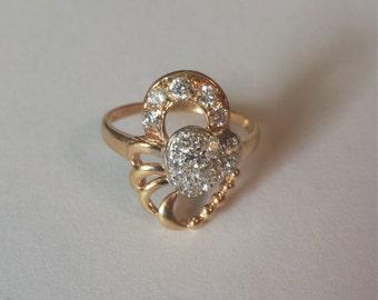 21K Yellow Gold Diamond Ring