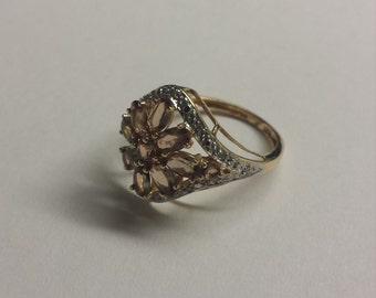 14K Yellow Gold Ring With Diamond and Smoky Quartz