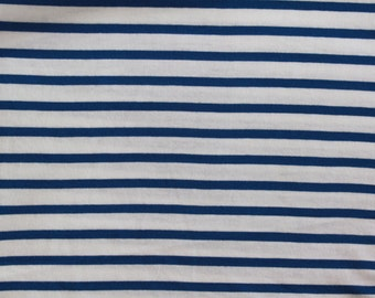 Stripey 100% Cotton Jersey,  Blue and White Stripes