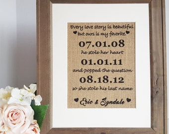 Our Love Story Wedding Burlap Print - Rustic Themed Wedding Sign - He Stole Her Heart Sign - Engagement Gift Sign - Bridal Shower Gift