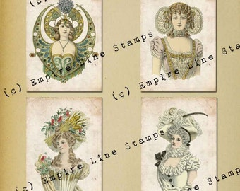 Antique Fancy Dress 3.5 x 5 inch tags backgrounds ATC Downloadable Collage Sheet Printable Scrapbook Paper Crafts